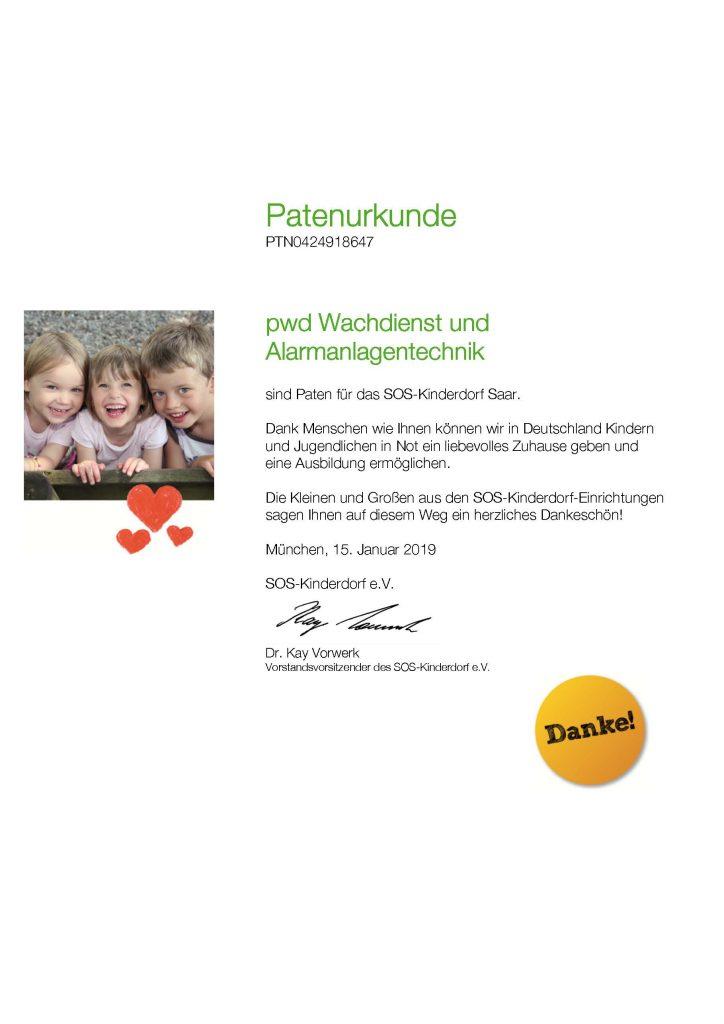 SOS Kinderdorf Patenurkunde 2019