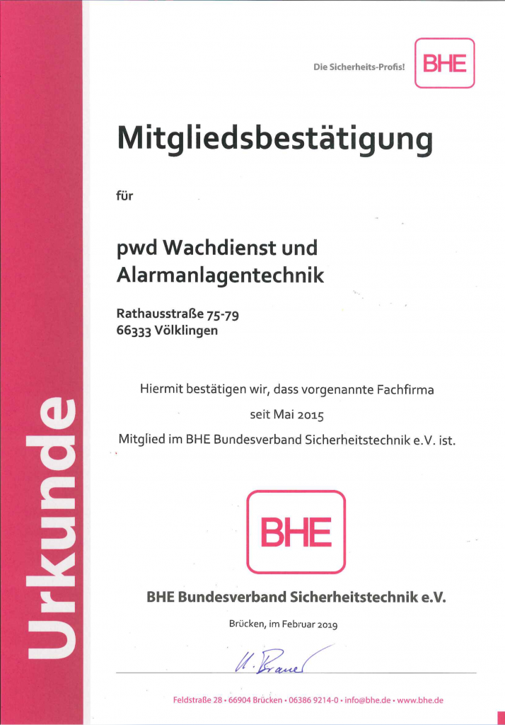 Urkunde vom BHE Bundesverband Sicherheitstechnik e.V.