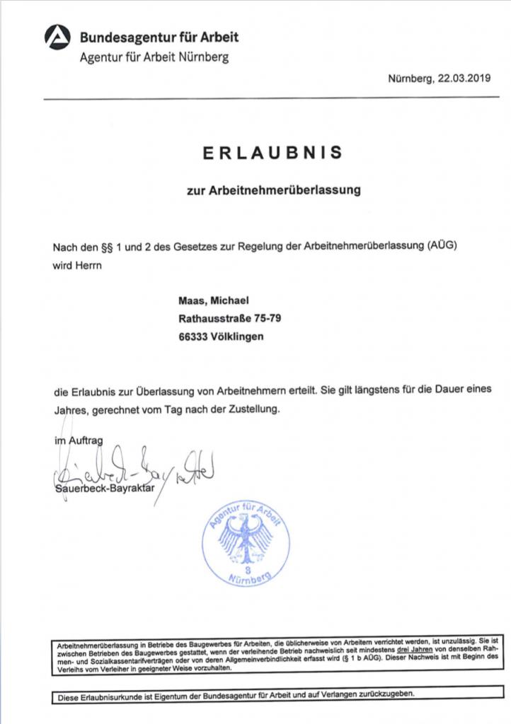 Zulassung Michael Maas Arbeitsnehmerüberlassung