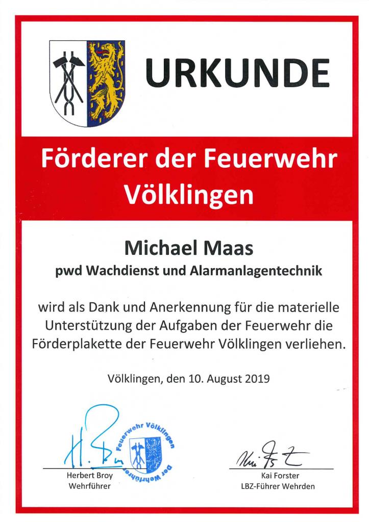 Urkunde: Förderer der Feuerwehr Völklingen 2019