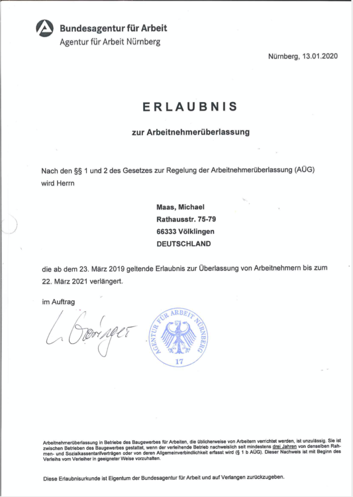 Zulassung Michael Maas Arbeitsnehmerüberlassung 2019