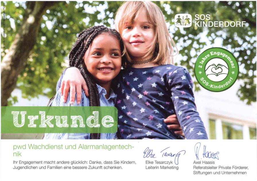 SOS Kinderdorf Patenurkunde 2 Jahre Patenschaft